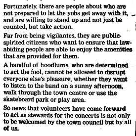 Graham Tutthill's Leader in the Dover Mercury 15 May 2003 supporting volunteer stewards for Pencester Gardens concerts.