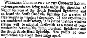 Marconi experiments from South Foreland to Goodwin lightships 09.01.1899
