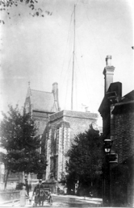 Marconi Mast on Dover Town Hall for Ambrose Fleming's lecture in Connaught Hall on the Marconi Dover wireless experiments 1899. Bob Holligsbee Collection Dover Museum