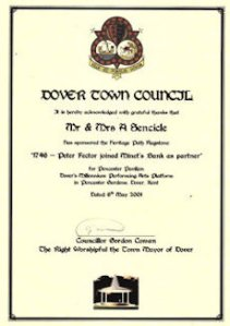 Millenium Bandstand, Pencester Gardens, Dover Town Council certificate for purchasing Peter Fector flagstone 2001.