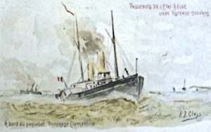 Princesse Clementine Belgium Marine packet ship drawn by PJ Clay. Dover Library