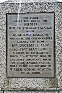 Site of the Needles Wireless Station, Isle of Wight were Marconi carried out some pioneer work - the pionerering work carried out by Marconi and Fleming in the Dover area remains forgotten. Pix Alan Sencicle