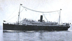 Steamship equipped with wireless T antenna pre WWI. Charles R. Gibson Wikimedia