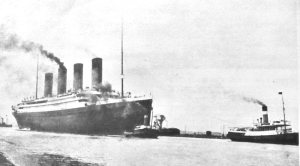 Titanic being towed out on her maiden voyage from Southampton 10.04.1912. Evelyn Robinson Collection
