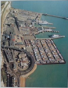 Eastern Docks on a typical busy day. The 6 acre lorry apron is the rectangle to the right of Jubilee Way. DHB 2015
