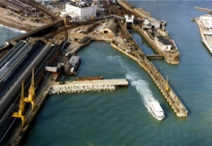 Jetfoil Basin, left Marine Station - at the time renamed Dover Western Docks - right the train ferry dock and behind, Southern House. Dover Museum