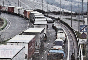 Operation Stack - the holding of lorries in one of the M20 or A20 lanes - this one is on the A20. Dover Mercury 04.03.2010