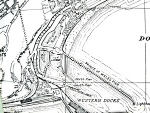 Map of Dover Western Docks circa 1970 showing Wellington Dock, Granville Dock the Tidal Basin, base of Admiralty Pier, North and South Pier, Prince of Wales Pier and the railway lines to Marine Station.
