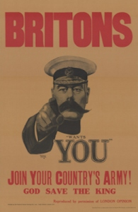 Alfred Leete WWI recruitment poster - Kitchener pointing and the caption 'Britons Wants You'. Eybl, Plakatmuseum Wien. Wikimedia