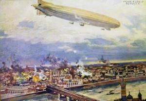 WWI German Schütte-Lanz Airship SL2 bombing Warsaw, Poland 1914. Hans Schulze. Library of Congress