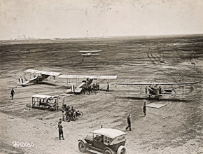Pilot cadets undergoing training in Texas, one of the Aeroplanes is taking off. United States National Archives