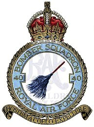 No 40 Squadron's Badge heraldry - a broom in honour of Mick Mannock. RAF Heraldry Trust