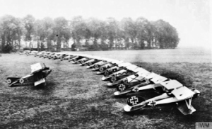 Albatros D.Vs of Jagdstaffeln (Jasta) 12 lined up at Roucourt (Douai) airfield, August-September 1917, in a similar way to those seen by the pilots of No. 54 Squadron near Arras in March. Imperial War Museum