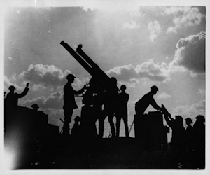 Battle of Broodseinde Ridge -13 pounder 9cwt anti-aircraft gun in action. National Library of Scotland