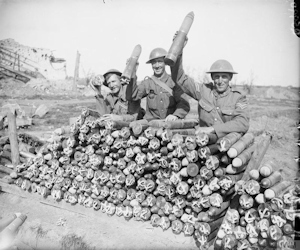 Battle of Passchendaele - Three Canadian gunners and a dump of 18 pounder shells. 21 09 1917. John Brooke IWM