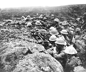 Battle of the Menin Road Ridge. Signals section of the 13th Battalion, Durham Light Infantry, equipped with telescopes, field telephone and signalling lamps, 20.09.1917. John Brooke IWM