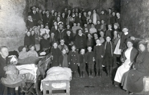 Dover bomb shelters - The old oil mill caves in Snargate Street 1915. Dover Museum