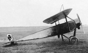 Captured Morane-Saulnier Type L with German insignia on which the Fokker Eindecker was designed. Wikimedia