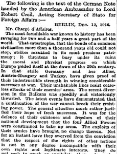 German Peace Proposal, 12 December 1916 published in the Times