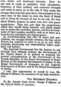 Cont ... German Peace proposal 12 December 1916 published in the Times