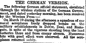 German version of the seaplane bombing raid on Dover 19 March 1916