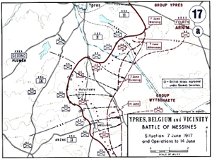 Map of the Battle of Messines 7-14 June 1917. West Point Department of History