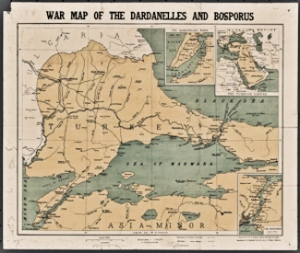 WWI map of the Sea of Marmara, the Dardanelles and the Bosphorus. W & A K Johnstone Ltd 1914. Wikimedia