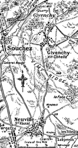 Map showing Vimy Ridge in the Times history of the War. Times 1916