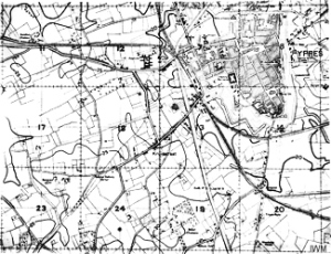 Musgrave & James style map of Ypres. British Army the Western Front, 1915-1918. Imperial War Museum