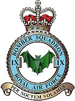 No9 Bomber Squadron note the bat. The motto Per Noctem Volamus - we fly by night. Wikimedia