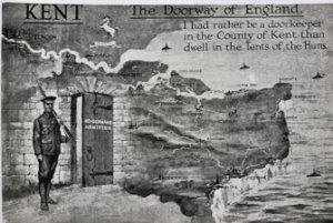 Postcard of Kent - The Doorway of England - No Germans Admitted. Typical of the postcards that reflected popular feeling following the outcome of Passchendaele. Dr Jo Stanley