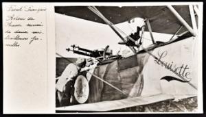 Sopwith 1½ Strutter (French) closeup showing Lewis guns and generator. Université de Caen Basse-Normandie