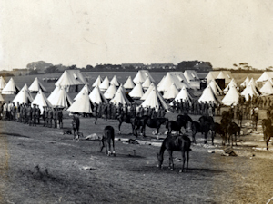 Troops in tents. Dover Museum