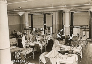 Wounded men on one of the wards at Debarkation Hospital No 3. United States National Archives