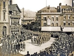 American Soldiers marching through Dover's Market Square 1918. Dover Museum