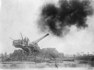 British 9.2inch railway gun firing near Battle of Béthune on Wednesday 18 April 1918. IWM.jpg