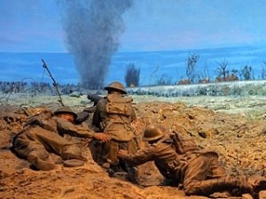Battle of Dernancourt Lewis Gun Team April 1918. Diorama at the Australian War Memorial. Nick D 2017 Wikimedia