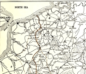 Map of Western Belgium & North West France from The History of the European War by Francis J. Reynolds, Allen L. Churchill & Francis Trevelyan