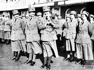 Members of the Women's Royal Air Force (WRAF) on parade circa 1918. Imperial War Museum