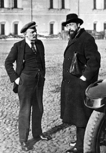 Vladimir Lenin with his secretary Vladimir Bonch-Burevich talking in Kremlin Courtyard. Moscow 1918. Wikimedia
