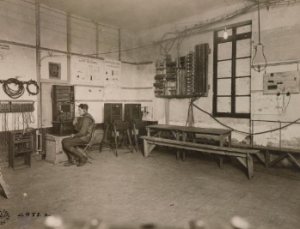 Interior of training wire room showing equipment used. United States National Archives