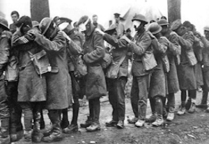 British 55th (West Lancashire) Division troops blinded by tear gas Battle of Éstaires April 1918. Thomas Keith Aitken IWM