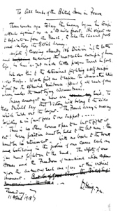 A copy of Haig's hand written letter that was then typed and sent to the men of all ranks 11 April 1918. Tom Robinson