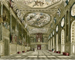 Windsor Castle - St George's Hall from W H Pyne History of the Royal Residences Vol 1