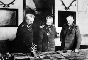 German General Headquarters, General Paul von Hindenburg, Kaiser Wilhelm II, General Erich Ludendorff. National Library of Scotland