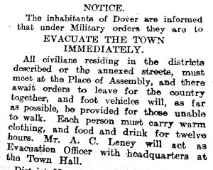 Evacuation Notice issued in Dover April 1918 During the German Spring Offensive.