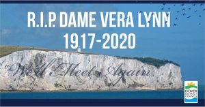 Dame Vera, who immortalised Dover and the Nation's spirit with her famous song: 'There will be Blue Birds over the White Cliffs of Dover', sadly died today Thursday 18 June 2020